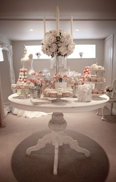 Vintage all white wedding dessert table #wedding #weddingdessert #desserttable #vintage #shabbychic