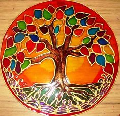 Resultado de imagen para mandalas pintados en cd Stained Glass Paint, Stained Glass Projects, Stained Glass Patterns, Mosaic Patterns, Mandala Painting, Silk Painting, Stone Painting, Tree Of Life Art, Tree Art