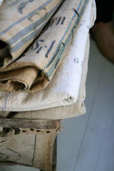 The Adventures of Elizabeth: Creative Company Jute, Vintage Textiles, Vintage Linen, Creative Company, Grain Sack, Ticking Stripe, Linens And Lace, Textile Fabrics, Natural Linen