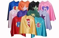 Set of 3 Personalized Custom Capes Kids Capes and by superflykidz Super Hero Capes For Kids, Kids Capes, Super Heros, Custom Capes, Sup Accessories, Kids Usa, Superhero Capes, Superhero Fashion, Personalized Gifts For Kids