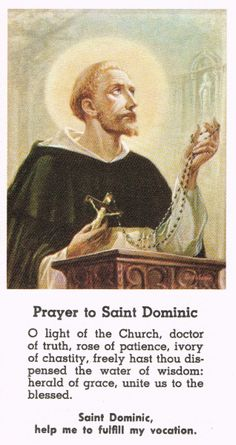 prayer to St. Dominic Catholic Prayers For Strength, Catholic Prayer For Healing, Catholic Prayers Daily, Catholic Religion, Catholic Saints, Catholic Kids, Roman Catholic, Saint Dominic, Prayers For Children