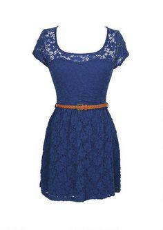 Lace Keyhole Belted Skater Dress