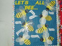 Bee Board Seasonal Bulletin Boards, Bee, Seasons, Creative, Honey Bees, Seasons Of The Year, Bees