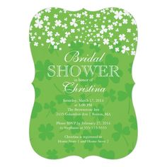 Invite guests in style with this custom modern fun Irish shamrock bridal shower personalized invitation. Beautiful invitation for a St. Patrick's day bridal shower, a March bridal shower or an Irish Clover themed wedding shower.