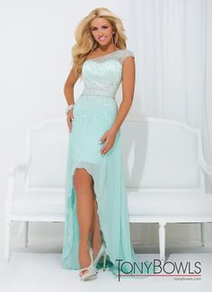Tony Bowls 2014 Aqua Pink One Shoulder High Low Prom Gown 114502 | Promgirl.net Without those shoes ... They almost ruin the dress.