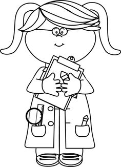 Black and White Girl Scientist with a Clipboard with a Clipboard