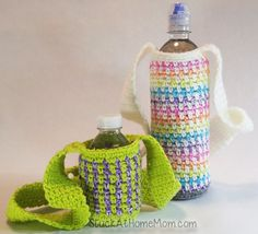 Water Bottle Carrier Crochet Pattern #Crochet #CrochetPattern