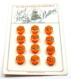 Antique BUTTONS Czech orange glass on store card