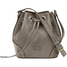 Gucci Bright Diamante Small Leather Bucket Bag ($1,600) ❤ liked on Polyvore featuring bags, handbags, grey, pocket purse, leather bucket bag, genuine leather handbags, grey handbags and gray leather purse