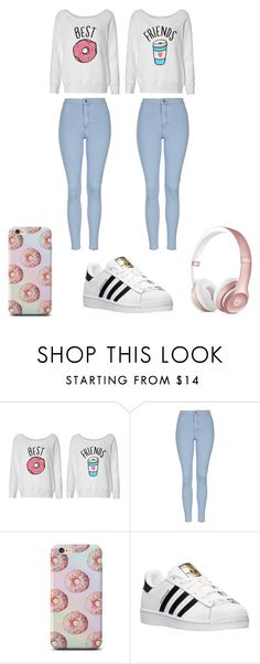 """Best friends"" by ella0401 ❤ liked on Polyvore featuring Topshop and adidas"