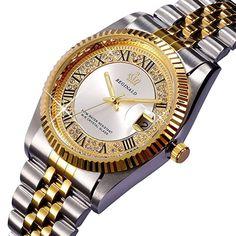 PASOY Unisex Stainless Steel Watch Luminous Hands Diamond Dial Gold Quartz Mens Womens Waterproof Watches