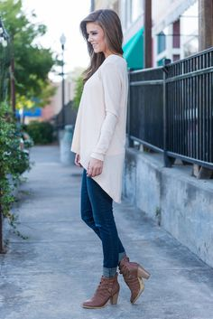 """""""Long Sleeve Keyhole Cut Out Back Top - Cream"""" This top is precious! We love it's high-low cut and the large keyhole in the back! It makes this top perfect for layering over a chic bralette or a tank with a strappy or detailed back!  #newarrivals #shopthemint"""