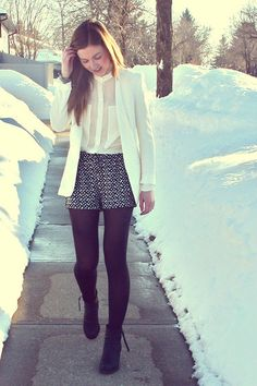 shorts, blazer, tights, blouse. the whole gang's here!