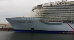 Harmony of the Seas. Thanks to Adam on FB group for sharing photo. Harmony Of The Seas, Royal Caribbean International, Norwegian Cruise Line, France Europe, Cruise Ships, Oasis, Sailing, Construction, Italy
