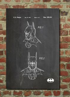 Batman Mask Patent Wall Art Poster by PatentPrints on Etsy, $6.99