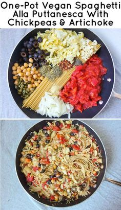 """One Pot Wonder w/ chickpeas and artichokes Pinner says: """"This was yummy, even without the olives!"""" Good cuz the hubby hates olives!"""