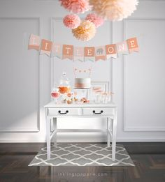 Baby Shower Decorations  // Printable // Blush Pink & Tangerine Elephant Collection on Etsy, $20.00 great color combo