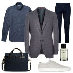 refinedcoast:  Refined TuesdaysISAIA sport coat / Boglioli denim shirt & trousers / Heeley eau de parfum / Filson briefcase / Common Projects suede sneakers