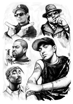 Drawings of Rappers | With Rap Stars Art Drawing Sketch Portrait Painting - Eminem With Rap ...