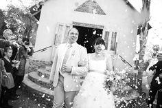 happy bride and groom. Confetti