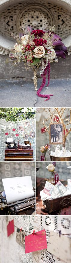 Paris and New Orleans Wedding Inspiration Vintage photos, typewriter and stationary add sentimental style to this inspired wedding, photography by Magnolia Pair Parisian Wedding, Gatsby Wedding, Tree Wedding, Our Wedding, Branches Wedding, Tree Branches, Wedding Themes, Wedding Decorations, Wedding Ideas