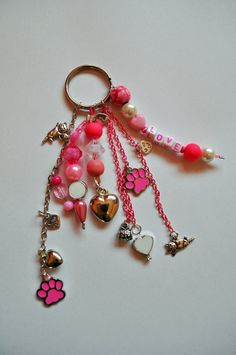 Love Pink & Cats keychain van Cattsy op Etsy