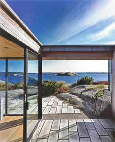 Amazing modern timber and black windows house with view of the ocean. Scandinavian Cabin, Scandinavian Architecture, Architecture Design, Outdoor Spaces, Outdoor Living, Summer Cabins, D House, House By The Sea, Cabins And Cottages