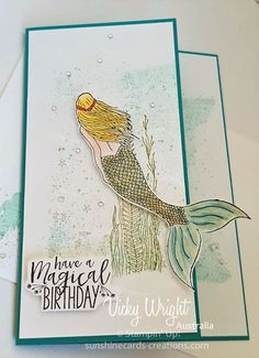Magical Mermaid, Block Stamping, Stampin' Up! Sea Texture, Rainbow Card, Mermaid Beach, Stampin Up Catalog, Sea Theme, Kids Cards, Homemade Cards, Stampin Up Cards, Scrapbook Pages