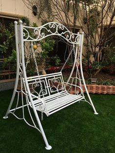 A swing is a hanging seat, often found at playgrounds, on a porch for relaxing, although they may also be items of indoor furniture The seat of a swing Wrought Iron Garden Furniture, Iron Furniture, Steel Furniture, Outdoor Furniture, Outdoor Decor, Garden Swing Seat, Patio Swing, Swing Table, Front Gate Design