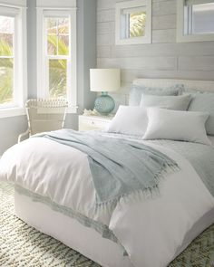 Linen bedding keeps you cool in the summer and gets softer and softer the more you wash it. Pair this Sky Linen Quilt from Pine Cone Hill with a classic white comforter and sheets and you'll feel like your sleeping on a cloud! decor ideas for women Master Bedroom Design, Dream Bedroom, Modern Bedroom, Master Suite, Contemporary Bedroom, Bedroom Designs, Cloud Bedroom, Bedroom Small, Minimalist Bedroom