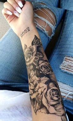 Black Rose Forearm Tattoo Ideas for Women - Realistic Floral Flower Arm Sleeve Tat - ideas de tatuaje de antebrazo rosa para mujeres - www.MyBodiArt.com #TattooIdeasInspiration #TattooIdeasForWomen