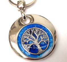Tree of Life personalised handmade and painted resin set real charm double sided keyring gift wicca by ResinHead on Etsy