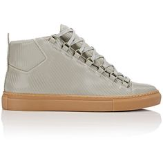 Balenciaga Carbon-Effect Arena High-Top Sneakers ($635) ❤ liked on Polyvore featuring men's fashion, men's shoes, men's sneakers, colorless, mens high top shoes, mens wide sneakers, mens high top sneakers, balenciaga mens sneakers and mens wide shoes