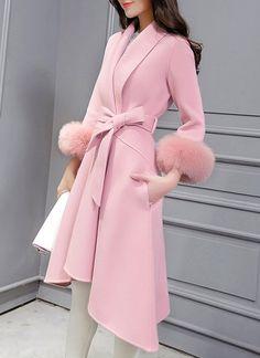 Stylish Shawl Neck Long Sleeve Faux Fur Design Asymmetrical Coat For Women