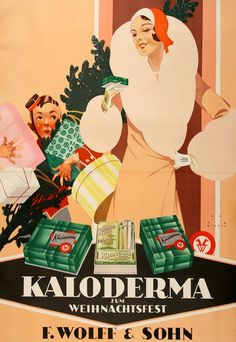 Kaloderma was a brand of luxury cosmetics for which Jupp Wiertz created a series of posters in the 1920s. Each one used the image of a beautiful woman with one of their products. This example is a Christmas scene that includes an overwhelmed porter struggling with all the newly purchased packages of the well-dressed young lady. The bottom of the poster shows the company's special Christmas packaging. Wiertz was a well-known poster artist based in Berlin whose style stood out from his…