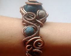Handmade Copper Wire bracelet with Natural stones by Tangledworld