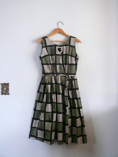 vintage 1950s Dress // houndstooth green by AdelaideHomesewn
