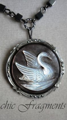 LOVE THIS CAMEO: SWAN Cameo Antique Mother Of Pearl Necklace. by chicfragments