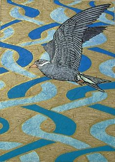 Printmaking : Black fronted Tern on Braided River 28/30 by Jo Ogier