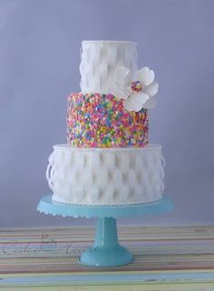 23 Fun And Colorful Sprinkle Wedding Cakes - Weddingomania Gorgeous Cakes, Pretty Cakes, Amazing Cakes, Cupcakes, Cupcake Cakes, Sprinkle Wedding Cakes, Beautiful Cake Pictures, Ribbon Cake, Wafer Paper Cake