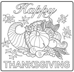 Harvest Cornucopia drawing : A simple coloring page for kids and adults, From…