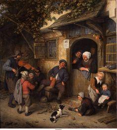 """De vioolspeler"" (the violin player) 1673, by Adriaen van Ostade (Dutch, 1610-1685)"
