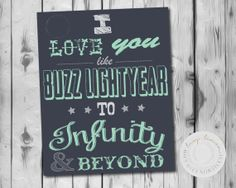 I love you like Buzz Lightyear, Toy Story, Buzz Lightyear, Boys Wall Art, Nursery, Playroom, Printable, DIY on Etsy, $15.00