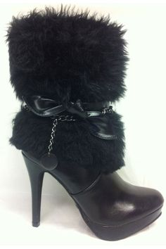 Angela 15 Fur Boots In Black  $70.00	  		  Bold fur-ocious fashion for ladies with an unshakable confidence        Features bow detail at side      Faux-fur shaft      Chain with charm      High heel      Platform front