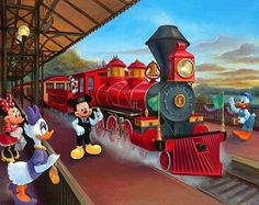 """... that you can then meet Maggie Parr and all of the other artists who created paintings to the Disney Gallery's latest themed event, """"A Grand Circle Tour of the Disney Trains."""""""
