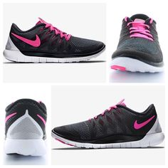 Women's Nike Free 5.0 Black/Pink POW White Women's Nike Free 5.0 running shoes. New in box, no lid. There may be some signs of wear on the soles from being tried on in-store. Nike Shoes Athletic Shoes