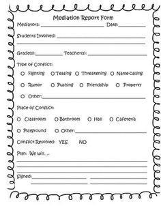 Use this PDF form with students during conflict resolution mediation. Peer mediators could also use it during their sessions. It is easy to use and documents the solutions that students brainstorm together.