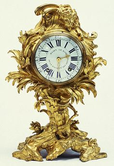 Mantel Clock / Movement by Julien Le Roy, clockmaker; dial enameled by Antoine-Nicolas Martinière, enameler / French, Paris, about 1742 / Gilt bronze, enameled metal