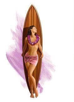 surfer Polynesian Girls, Color Me Mine, Tiki Art, Skate Art, Surf Art, Surf Girls, Surfs Up, Vintage Travel Posters, Summer Art