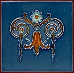 Art Nouveau Flower Tile with Blue Background, c. 1900